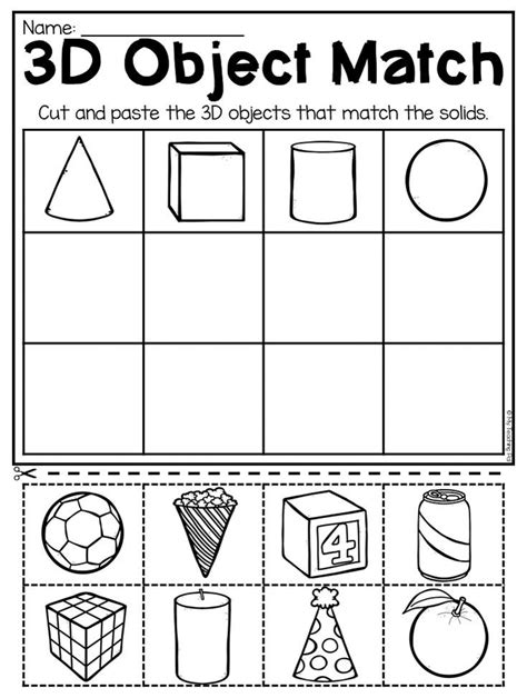 kindergarten 2d and 3d shapes worksheets kindergarten