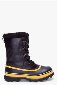 Sorel Black Yellow Leather Caribou Boots in Yellow for Men ...