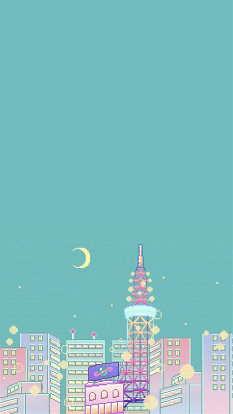 wallpaper pixels pastel colours sky moon city