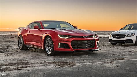 red hot chevrolet camaro ss weld rt   forged wheels