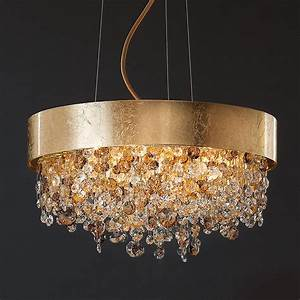 Round gold leaf crystal contemporary chandelier