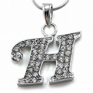 alphabet initial letter h pendant necklace charm silver With letter h necklace pendant