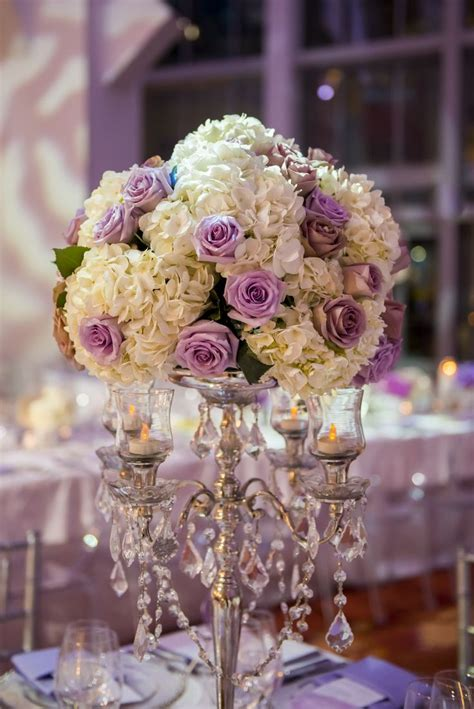 Lavender Rose And White Hydrangea Candelabra Tall