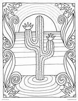 Sunset Coloring Pages Desert Cactus Adults Scene Printable Landscape Nature Adult Beach Easy Landscapes Sheet Plants Detailed Sheets Dora Ocean sketch template