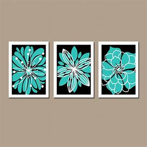 Turquoise black wall art canvas or prints bedroom by trmdesign