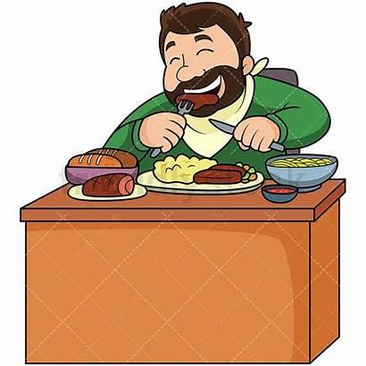 Eating Fat Lot Cartoon Clipart Vector Friendlystock