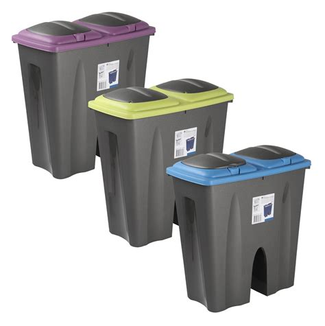 Double Recycling Waste Bin Duo Rubbish Plastic Cardboard