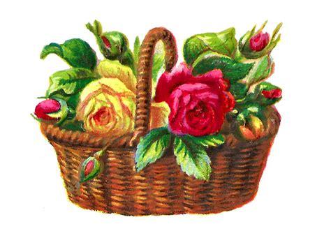 antique images digital flower red rose basket clip art