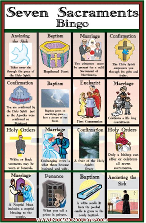 sacraments bingo game classroom resources