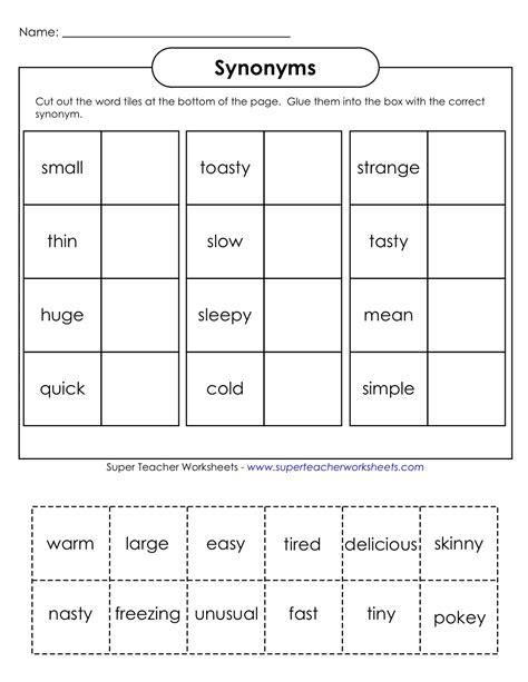 everything education synonyms worksheet