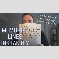 How To Memorize Lines Instantly (seriously)  Random Memory Tips #014 Youtube