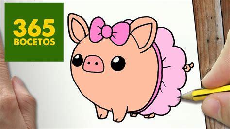 como dibujar cerdo kawaii paso  paso dibujos kawaii
