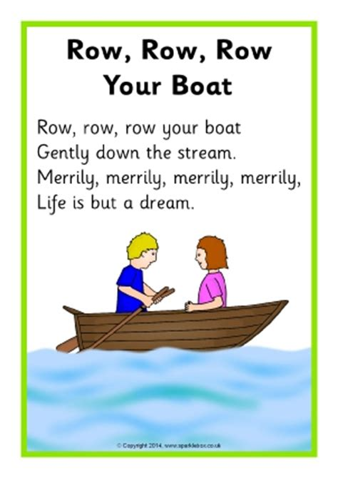 Row Row Row Your Boat Lyrics In Spanish by Nursery Songs Teaching Resources Printables Sparklebox