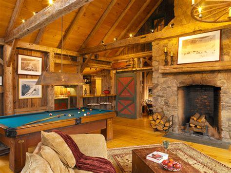 stowe vermont barn house farmhouse family room