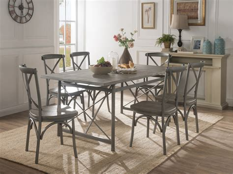 Industrial Weathered Wood and Metal 7-Piece Dining Set ...