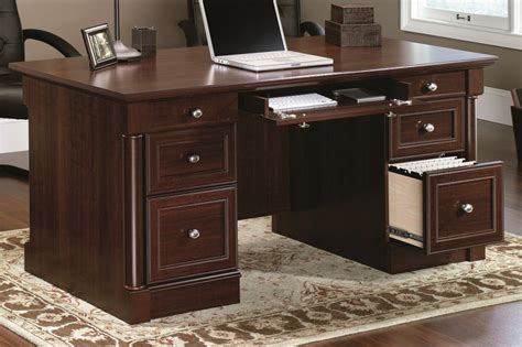 Sauder Palladia Executive Desk Assembly by Palladia 65 W X 30 H Wooden Executive Desk With 2 File
