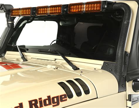 rugged ridge 11232 25 windshield led light bar for 07 17