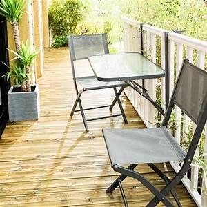 Salon De Jardin Pliant : ensemble balcon pliant 2 places en acier gris anthracite ~ Dailycaller-alerts.com Idées de Décoration