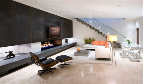 fireplace accent wall living room modern with beige sofa