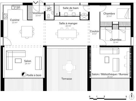 plan type de cuisine plan de maison en u avec terrasse ooreka