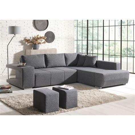canap 233 d angle convertible 2 poufs tissu gris achat vente canap 233 sofa divan