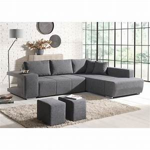 canape d39angle convertible tissu gris 2 poufs mila With canape d angle gris cdiscount