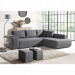 Canapé Tissu Gris : canap d 39 angle convertible tissu gris 2 poufs mila achat vente canap sofa divan ~ Teatrodelosmanantiales.com Idées de Décoration
