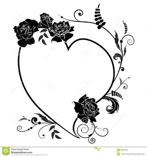 heart  rose frame stock vector illustration  ornate