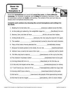 choose the correct homophone printable worksheet