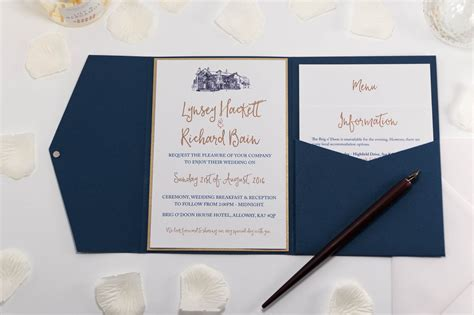 brig  doon wedding invitation  navy blue pocketfold