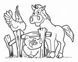 Farm Cartoon Animals Clipart Coloring Pages Clip Funny Animal Donkey Library sketch template