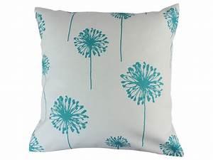 Teal Turquoise Dandelion Decorative Throw Pillow Cushion