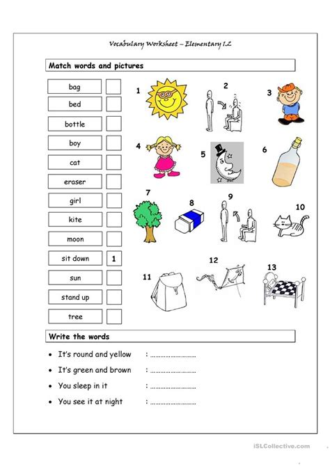 Vocabulary Matching Worksheet  Elementary 12 Worksheet  Free Esl Printable Worksheets Made By