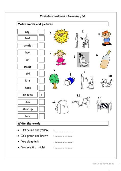 vocabulary matching worksheet elementary  worksheet