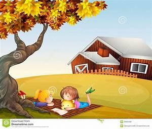 Kids Reading Under A Big Tree Stock Vector - Illustration ...