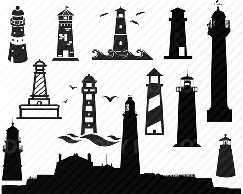Lots of free cricut designs and images. Lighthouse SVG Bundle Nautical Vector Images Silhouette ...