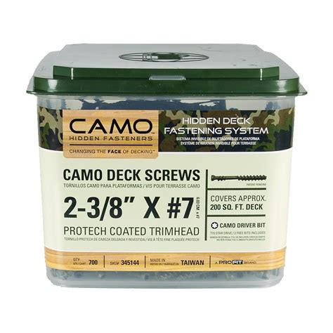 camo deck screws camo trimhead protech deck screws 2 3 8 quot 700 count