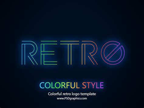 logo template psd colorful retro logo template psd psdgraphics