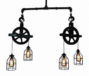 Ceiling lighting industrial pulley light bar