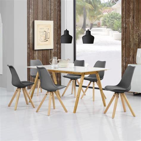esstisch mit 6 stühlen en casa 174 esstisch bambus mit 6 st 252 hlen gepolstert grau tisch 180x80 st 252 hle retro stuhl