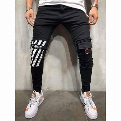 Jeans Ripped Skinny Zipper Ankle Repaired Street