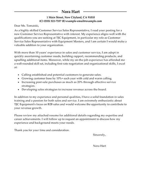 Cover Letter Of Customer Service Representative by Sle Of Cover Letter For Customer Service Representative