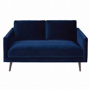 canape 2 places en velours bleu nuit kant maisons du monde With tapis jonc de mer avec canapé deux places avec méridienne
