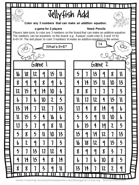 fun games 4 learning summer math games freebies and end of year freebies