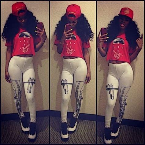 Shirt clothes teyana taylor gun leggings red air jordan pants shoes thug life leggings ...