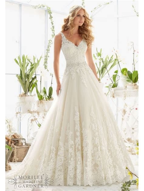 Mori Lee 2821 Classic Lace Ball Gown Style Wedding Dress Ivory