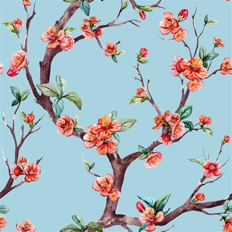 Japan Cherry Blossom Wallpaper Blossom Watercolor Raster Sakura Pattern Custom Wallpaper