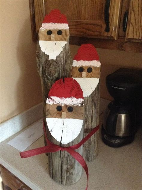 santa log faces holidays decor  crafts christmas