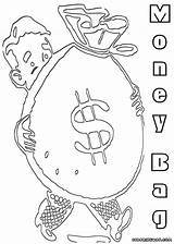 Money Coloring Pages Bag Print Colorings sketch template