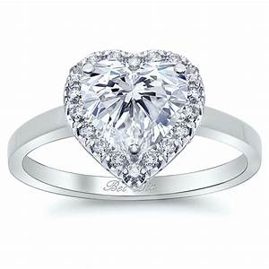 heart halo engagement ring with plain band With halo ring with plain wedding band